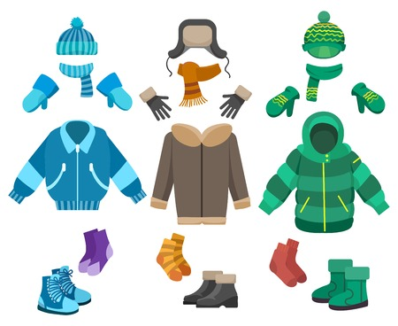 Illustrazione per Male winter clothing isolated on white background. Cold weather clothes collection for boys vector illustration - Immagini Royalty Free