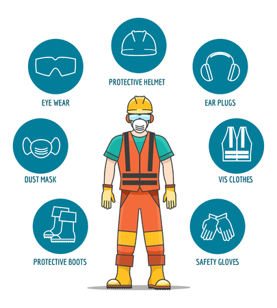 Illustration pour Protective and Safety Equipment or ppe vector illustration. Helmet and glasses, gloves and headphones icons for worker job protection - image libre de droit