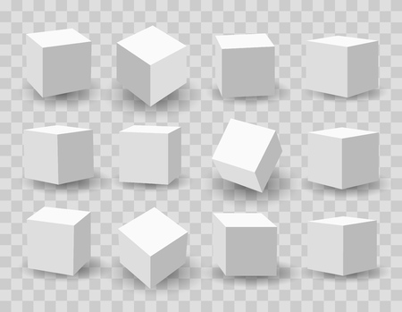 Illustration pour Three-dimensional modeling of white cubes vector illustration. - image libre de droit