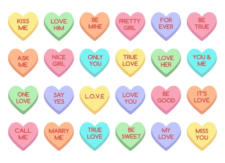 Illustration pour Sweet heart candy. Sweetheart candies isolated on white background, conversation sweets for valentines day, valentine sugar food hearts - image libre de droit