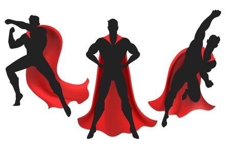 Ilustración de Superhero silhouette. Powerful man silhouettes figure with super hero red cape vector illustration - Imagen libre de derechos