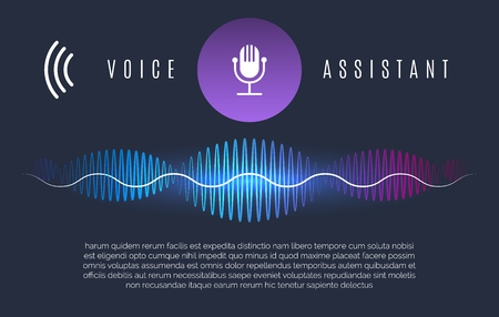 Ilustración de Soundwaves recognition assistant. Speech technology intelligence personal help, sound device controls and home voice assist concept, vector illustration - Imagen libre de derechos