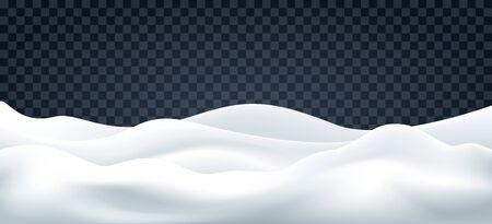 Illustration pour Snowdrifts on transparent. Snow landscape decor, beauty snowdrift wallpaper, frozen hills with snowbanks texture, empty snowbank fields panorama, vector illustration - image libre de droit