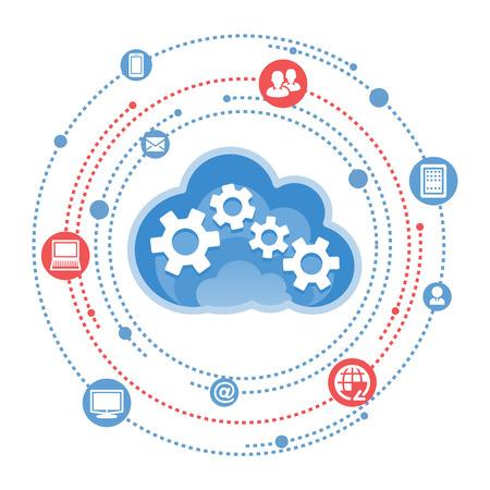 Illustration pour Cloud, computing, service illustration. - image libre de droit