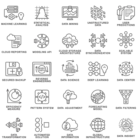 Illustration pour Modern contour icons database processing methods of data science technology, machine learning process. Data insight, transformation, scalable, modeling API, pattern system. The thin contour lines. - image libre de droit