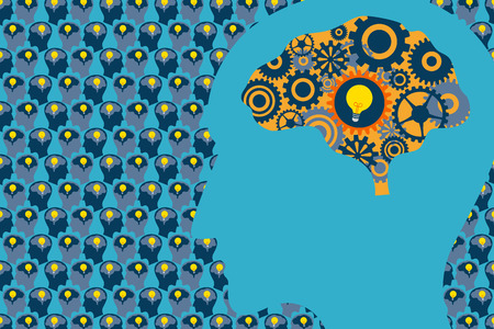 Illustration pour General Business and Management concept. A large human head with mechanical gear inside the brain and many human heads with light bulb inside brain on background. - image libre de droit