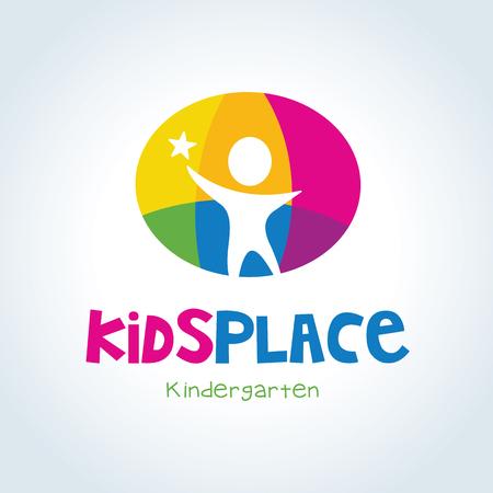 Kids logo,kids logo design template,vector logo template