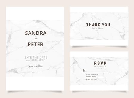 Illustration pour Luxury Wedding Invitations set  for Design  Thank you card , RSVP Stationary with marble vector cover. - image libre de droit