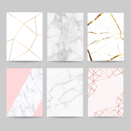 Illustration pour Luxury wedding invitation cards collection with marble background cover and gold geometric shape pattern vector - image libre de droit