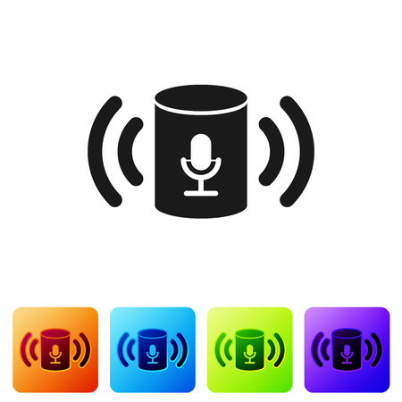 Ilustración de Black Voice assistant icon isolated on white background. Voice control user interface smart speaker. Set icon in color square buttons. Vector Illustration - Imagen libre de derechos