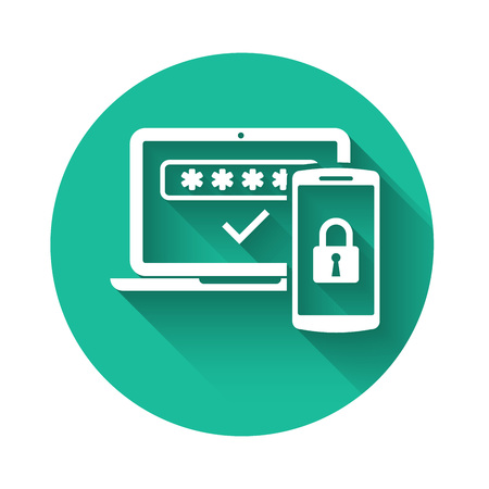 Ilustración de White Multi factor, two steps authentication icon isolated with long shadow. Green circle button. Vector Illustration - Imagen libre de derechos