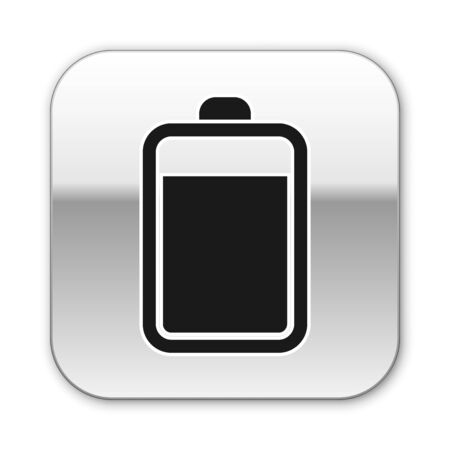 Black Battery icon isolated on white background. Silver square button. Vector Illustration