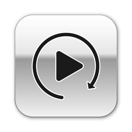 Black Video play button like simple replay icon isolated on white background. Silver square button. Vector Illustration