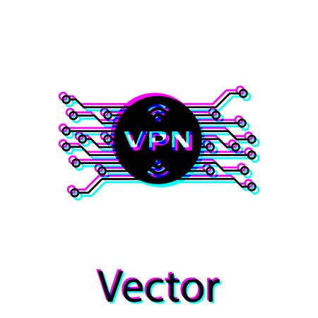 Ilustración de Black VPN in circle with microchip circuit icon isolated on white background. Vector Illustration - Imagen libre de derechos