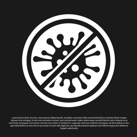 Illustrazione per Black Stop virus, bacteria, germs and microbe icon isolated on black background. Antibacterial and antiviral defence, protection infection. Vector Illustration - Immagini Royalty Free