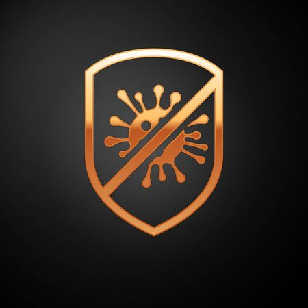Illustrazione per Gold Stop virus, bacteria, germs and microbe icon isolated on black background. Antibacterial and antiviral defence, protection infection. Vector Illustration - Immagini Royalty Free