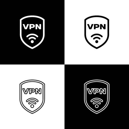 Ilustración de Set Shield with VPN and wifi wireless internet network symbol icons isolated on black and white background. VPN protect safety concept. Vector Illustration - Imagen libre de derechos