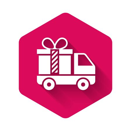 Illustration pour White Delivery truck with gift icon isolated with long shadow. Pink hexagon button. Vector Illustration - image libre de droit