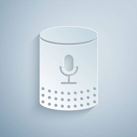 Ilustración de Paper cut Voice assistant icon isolated on grey background. Voice control user interface smart speaker. Paper art style. Vector Illustration - Imagen libre de derechos