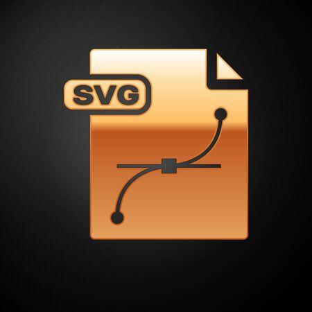 Illustration pour Gold SVG file document. Download svg button icon isolated on black background. SVG file symbol. Vector Illustration - image libre de droit