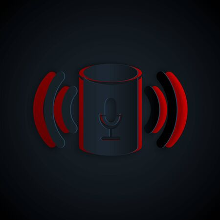 Ilustración de Paper cut Voice assistant icon isolated on black background. Voice control user interface smart speaker. Paper art style. Vector Illustration - Imagen libre de derechos