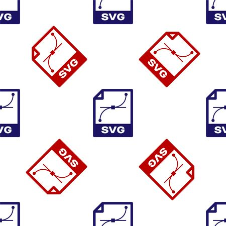 Illustration pour Blue and red SVG file document. Download svg button icon isolated seamless pattern on white background. SVG file symbol. Vector Illustration - image libre de droit