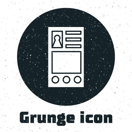 Grunge Create account screen icon isolated on white background. Vector Illustration