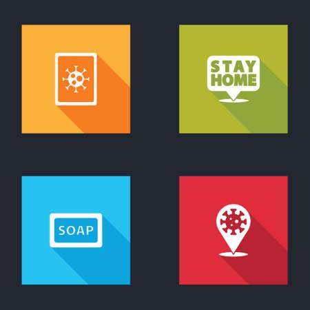 Set Virus statistics on monitor, Stay home, Bar of soap and Corona virus 2019-nCoV location icon. Vector