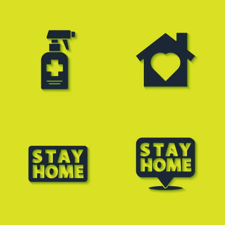 Set Liquid antibacterial soap, Stay home, and House with heart inside icon. Vector