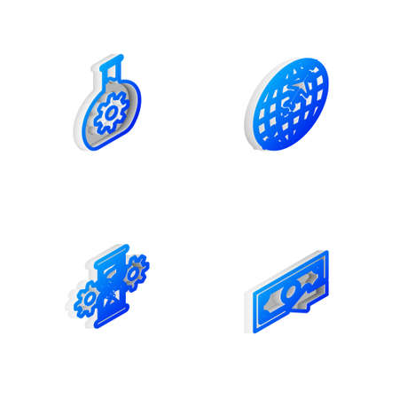 Set Isometric line Globe with flying plane, Bioengineering, Hourglass and gear and Cash back icon. Vector