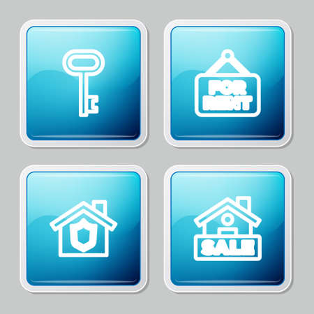 Set line House key, Hanging sign with For Rent, shield and Sale icon. Vector