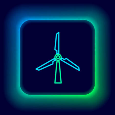 Glowing neon line Wind turbine icon isolated on black background. Wind generator sign. Windmill silhouette. Windmill for electric power production. Colorful outline concept. Vector
