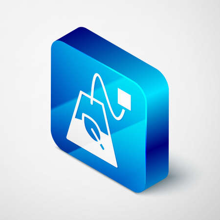 Isometric Tea bag icon isolated on grey background. Blue square button. Vector