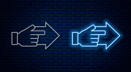 Glowing neon line Hand with pointing finger with arrow icon isolated on brick wall background. Business vision and target. Concept business finance, character, leader. Vector