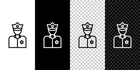 Set line Police officer icon isolated on black and white background. Vector