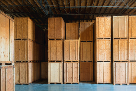 Photo for Large wooden crate ready for delivery and shipping at the warehouse - Royalty Free Image