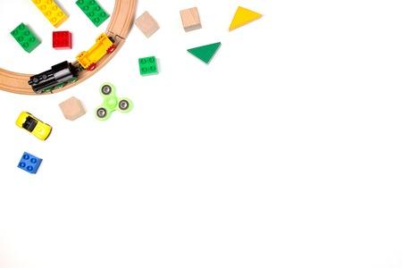 Photo pour Kids toys frame on white background. Top view. Flat lay - image libre de droit