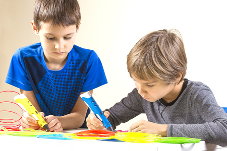 Photo for Children creating with 3d printing pen - Royalty Free Image