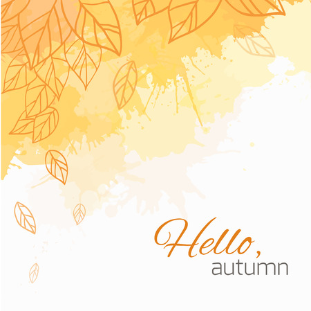 Illustration pour Autumn vector cover  with doodle leaves and yellow and orange blobs for your business - image libre de droit