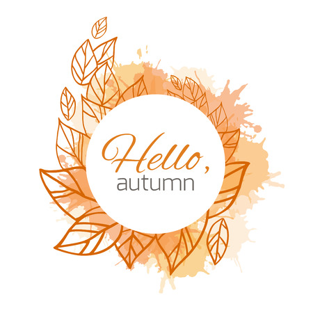 Illustration for Autumn vector cover  with doodle leaves and yellow and orange blobs for your business - Royalty Free Image
