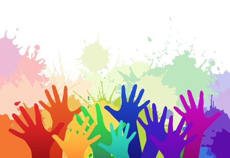 Illustration for Multicolored rainbow children's hands on background of watercolor splashes. Vector element for your creativity - Royalty Free Image