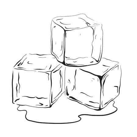 Illustration for Hand drawn ice cubes. Black and white vector illustration for your creativity. - Royalty Free Image