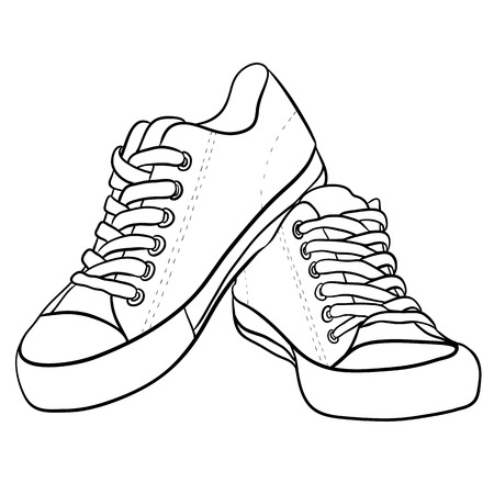 Ilustración de Contour black and white illustration of sneakers. Vector element for your creativity - Imagen libre de derechos