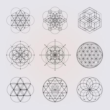 Illustration pour Sacred geometry vector design elements. - image libre de droit