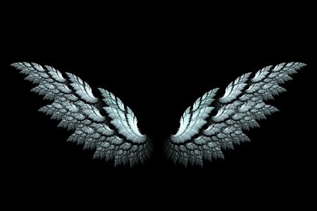Photo for White angel wings made with fractal design on black - Royalty Free Image