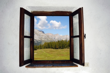Photo for An image of an open window and beautiful picture outside - Royalty Free Image