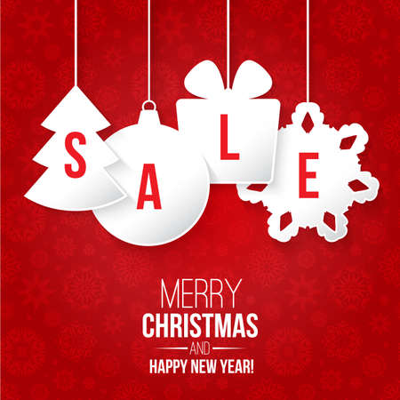 Illustration pour Christmas sale on red background vector illustration - image libre de droit