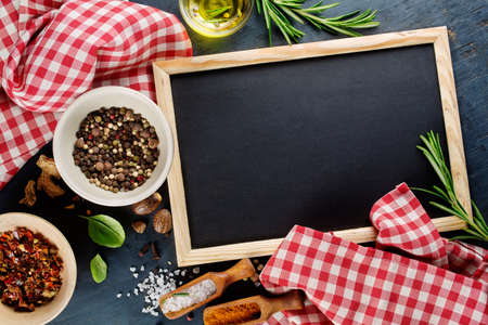 Photo for Black chalk board and spices. Template for recipes or food menu - Royalty Free Image