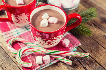 Photo for Cup of hot chocolate with marshmallows on a wooden table - Royalty Free Image