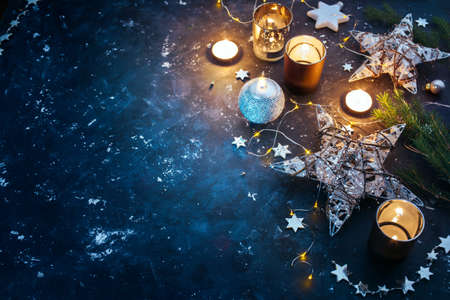 Photo for Christmas background with festive decoration, stars and candles. Christmas background with copyspace - Royalty Free Image